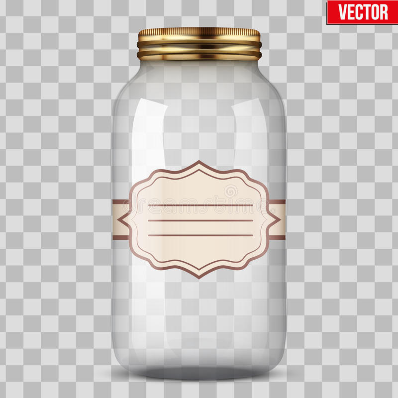 Glass Jar for canning with label. Big Glass Jar for canning and preserving with sticker label. Vector Illustration on transparent background stock illustration
