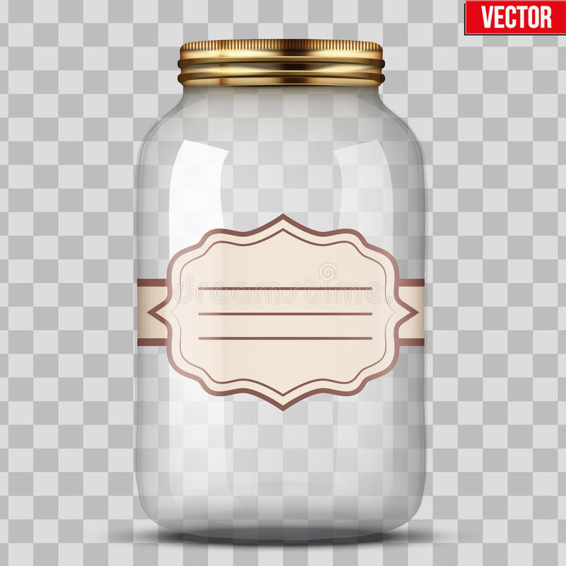 Glass Jar for canning with label. Big Glass Jar for canning and preserving with sticker label. Vector Illustration on transparent background vector illustration