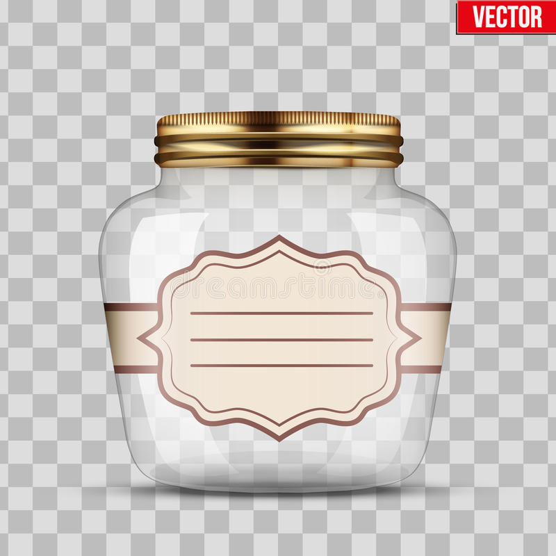 Glass Jar for canning with label. Glass Jar for canning and preserving with sticker label. Vector Illustration isolated on transparent background royalty free illustration
