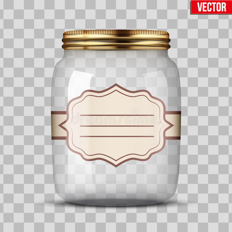 Glass Jar for canning with label. Glass Jar for canning and preserving with sticker label. Vector Illustration on transparent background royalty free illustration