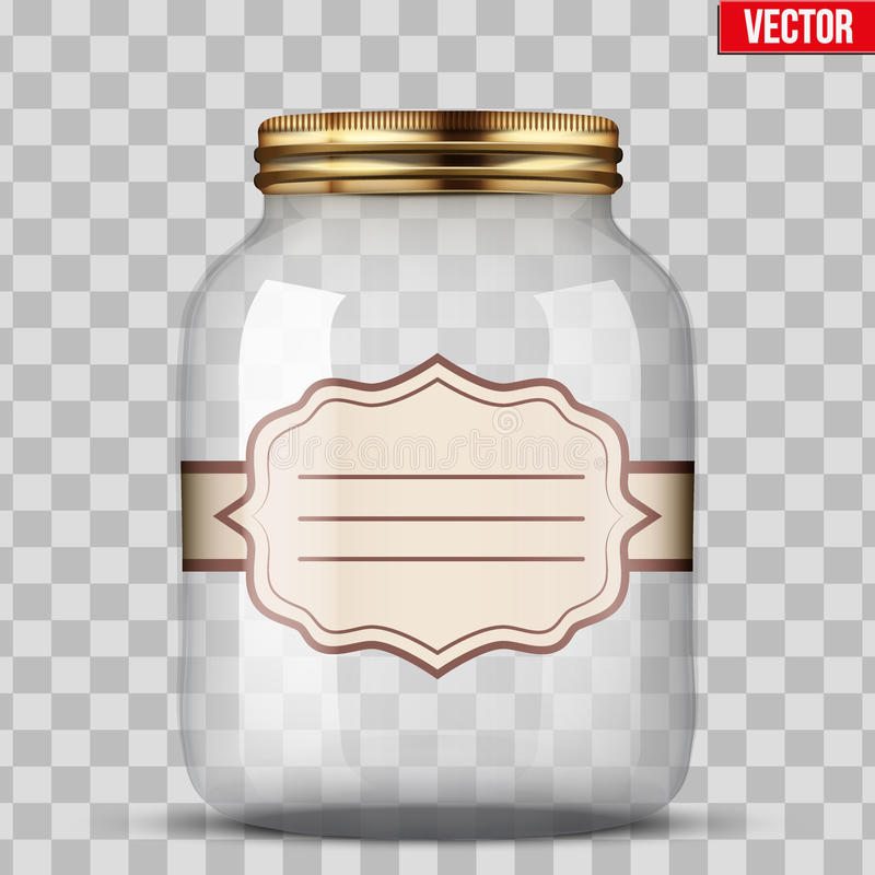 Glass Jar for canning with label. Glass Jar for canning and preserving with sticker label. Vector Illustration on transparent background vector illustration