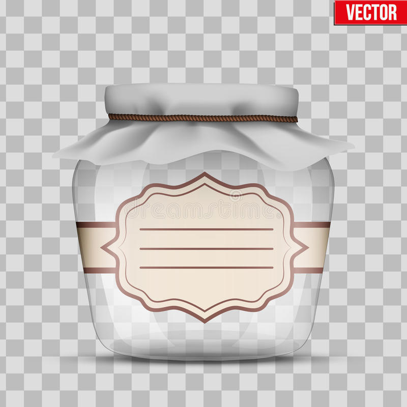 Glass Jar for canning. And preserving with cloth cover and sticker label. Vector Illustration isolated on transparent background vector illustration