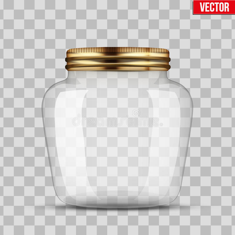 Glass Jar for canning. And preserving. Heart form. With closed metal cover. Vector Illustration isolated on transparent background stock illustration
