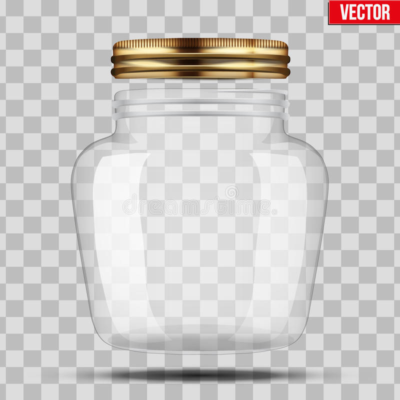 Glass Jar for canning. And preserving. With opened metal cover. Heart form. Vector Illustration isolated on transparent background royalty free illustration