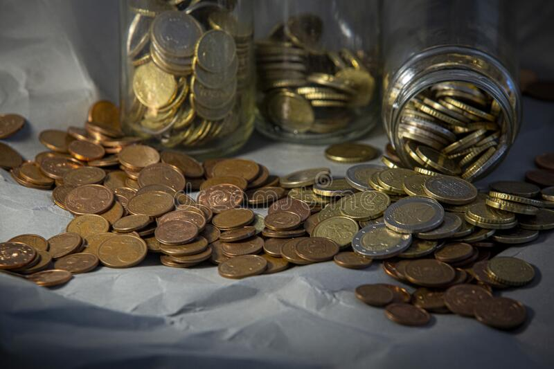 Glass jar of euro coins.  royalty free stock photos