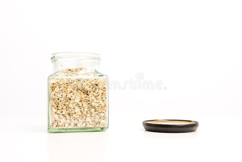 Glass Jar Full On Fine Oats royalty free stock image