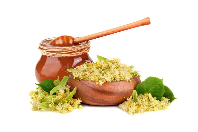 Honey with linden flowers stock images