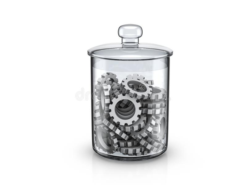 Glass jar with gear symbols copy royalty free illustration