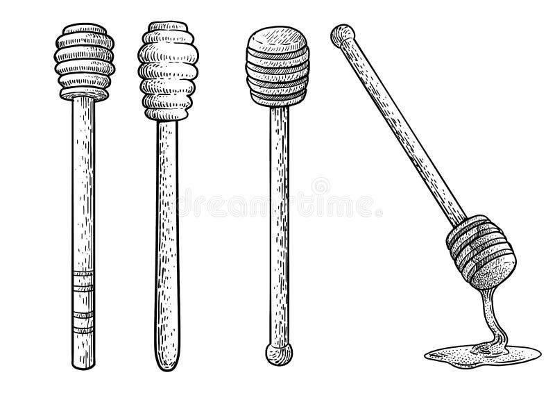 Glass, jar, honey illustration, drawing, engraving, ink, line art, vectorWooden honey stick illustration, drawing, engraving, ink, stock illustration