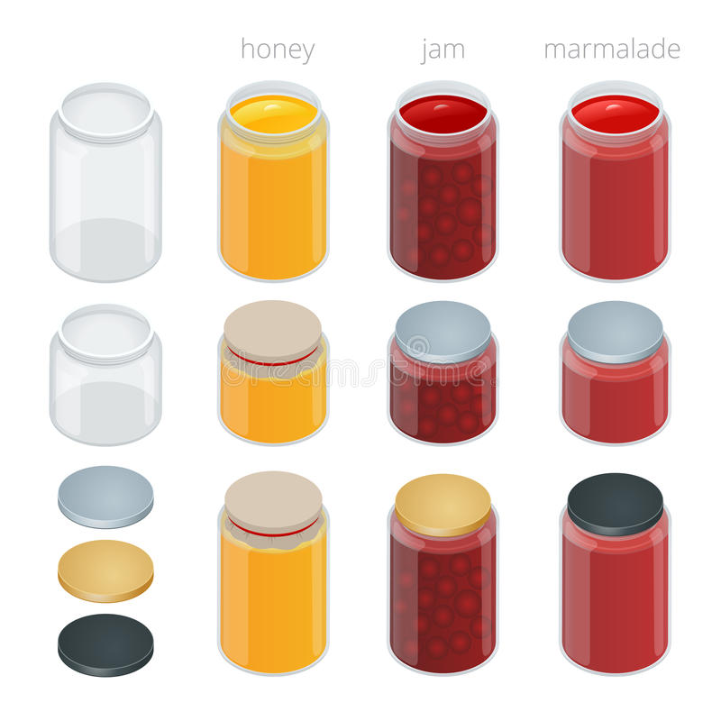 Glass jar with with jam, configure or honey. Vector 3d flat isometric illustration. stock illustration