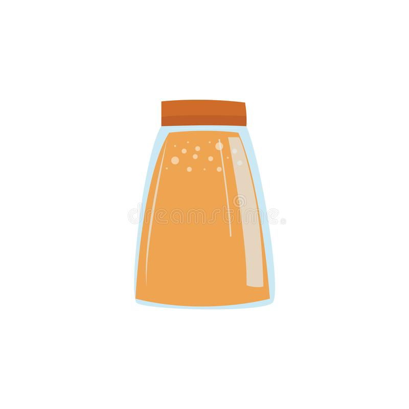 Glass jar with jam or juice in flat style isolated on white background. Vector illustration of eco friendly bottle for food and drink storage for zero waste royalty free illustration
