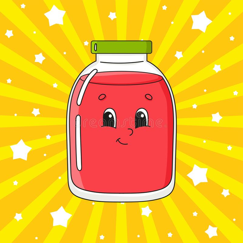 Glass jar with juice. Cute character. Colorful vector illustration. Cartoon style. Isolated on color background. Design element. Cute character. Colorful vector stock illustration