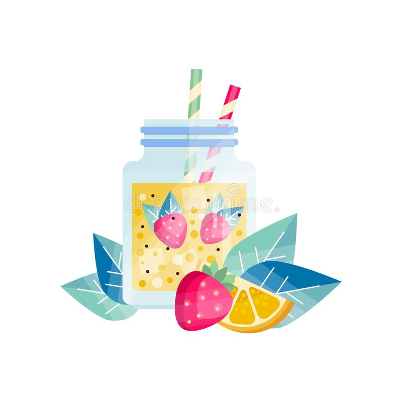 Glass jar with lemon-strawberry cocktail. Refreshing juice. Vegetarian smoothie with ice cubes and drinking straws vector illustration