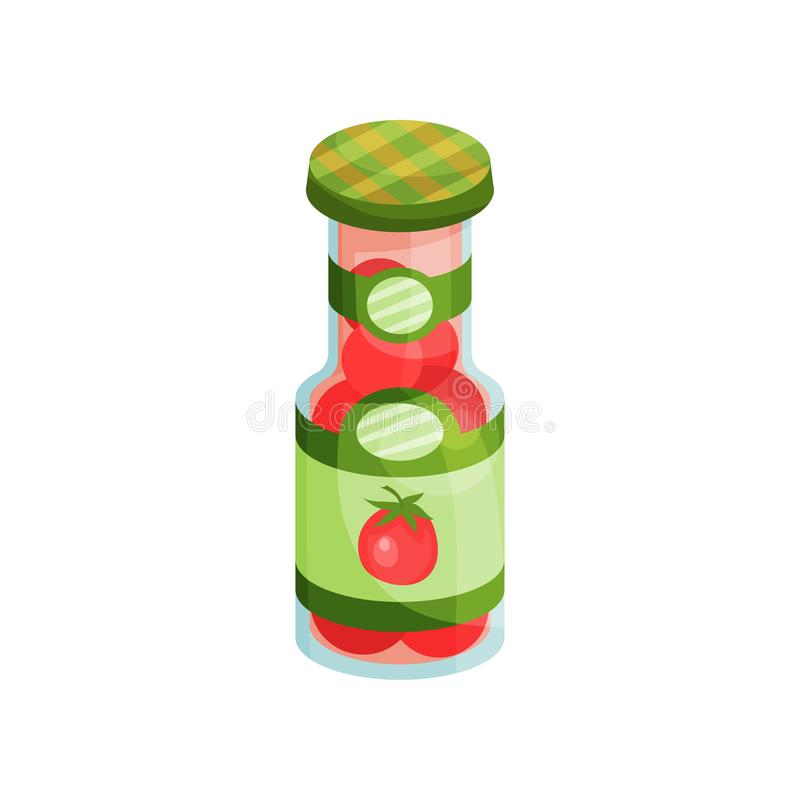 Glass jar with pickled tomatoes, canned vegetables cartoon vector Illustration royalty free illustration