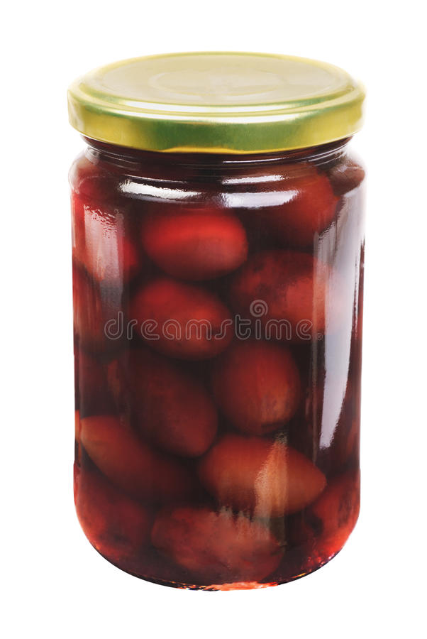 Glass jar with purple olives kalamata stock photos