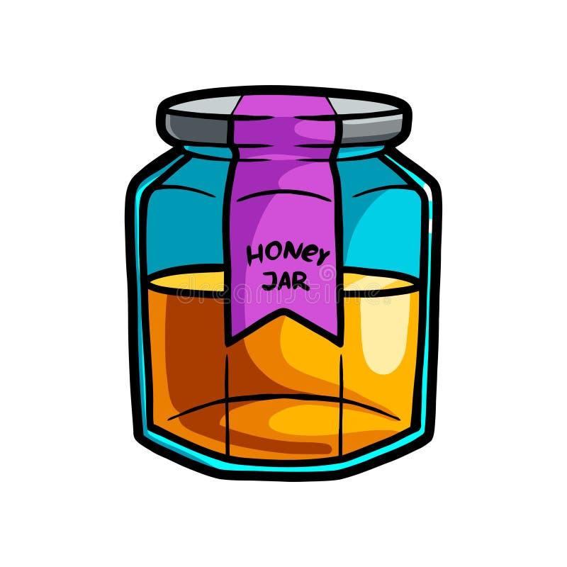 Glass jar of sweet honey from new shop market royalty free illustration