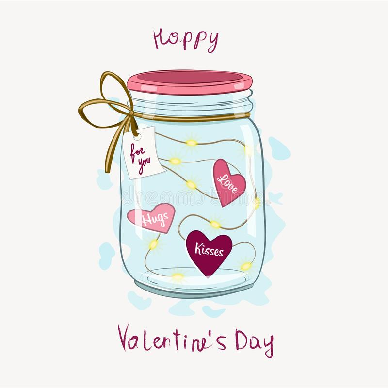 Glass jar for Valentine`s Day stock photos