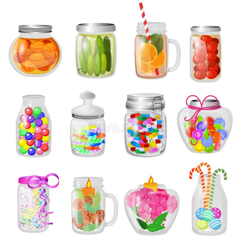 Glass jar vector jam or sweet jelly in mason glassware with lid or cover for canning and preserving illustration. Glassful set of cuppingglass with conservation royalty free illustration