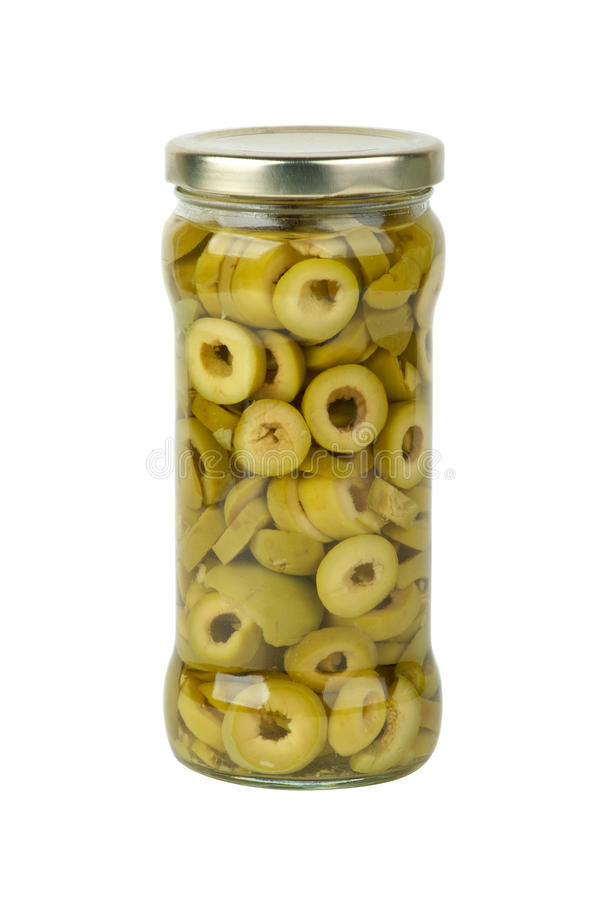 Free Glass Jar With Sliced Green Olives Stock Images - 17857494