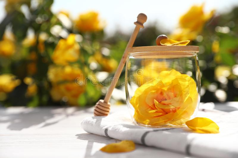 Glass jar with yellow rose and honey dipper on white wooden table in blooming garden stock images