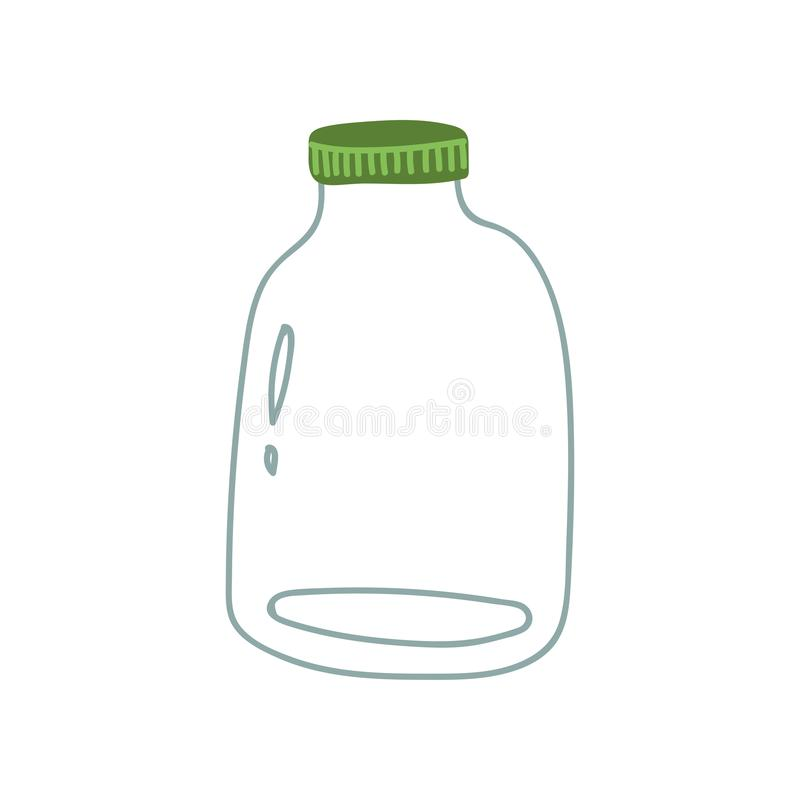 Glass, Jar, Zero Waste Reusable Object, Eco lifestyle Concept Vector Illustration. On White Background royalty free illustration