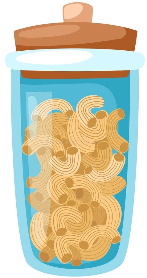 glass jarmacaroni vektor illustrationer
