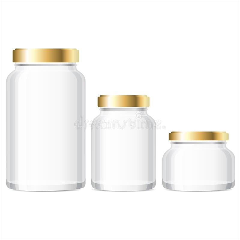 Free Glass Jars Bottles Mockup. Small, Medium, Large. Vector Illustration. Royalty Free Stock Images - 76656869