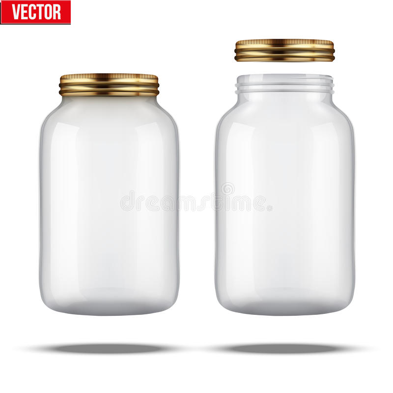 Glass Jars for canning and preserving. With cover and without lid royalty free illustration