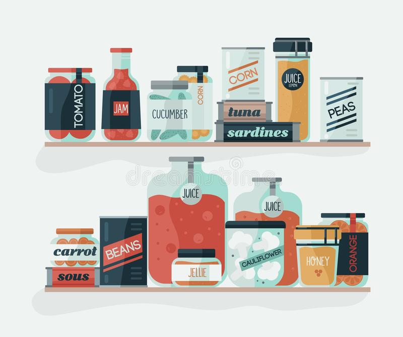 Glass jars and cans with pickled vegetables on shelves. Delicious canned food, organic nutrition, homemade preserves. Home preservation. Colorful vector vector illustration
