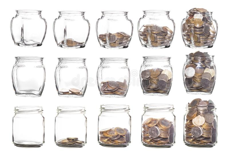 Glass jars with coins like diagram isolated on White Background royalty free stock photography