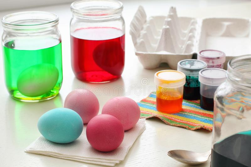 Dyeing Easter Eggs stock photography