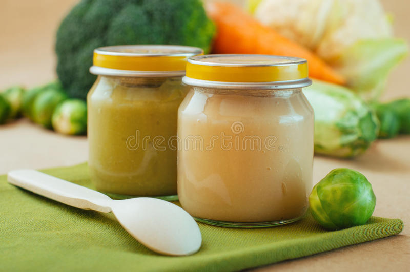 Download Glass Jars With Natural Vegetable Puree Stock Image - Image: 83712385