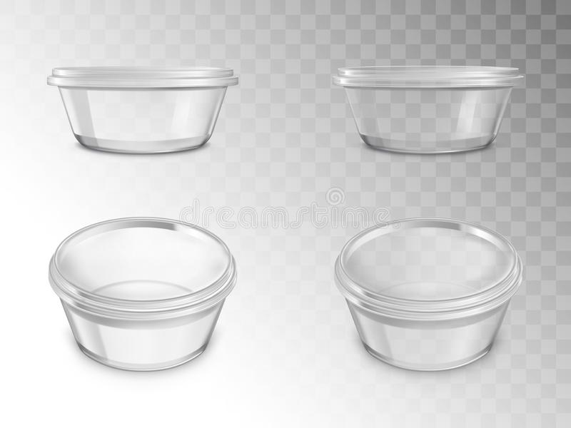 Glass jars set, empty open containers for canning. With thread for cap in different positions, package for preserving food, products isolated on transparent vector illustration