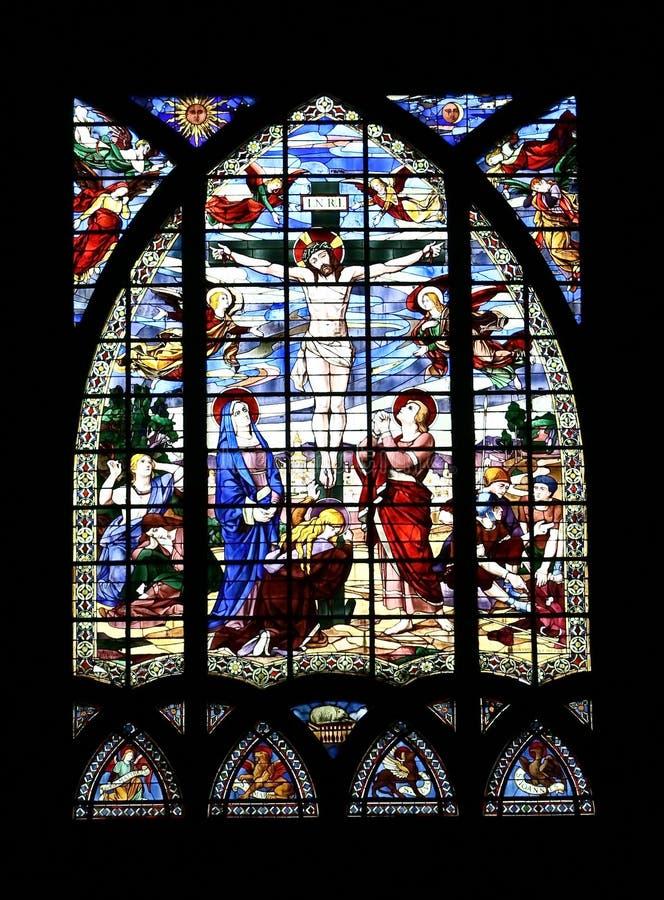glass jesus för kors målning arkivbilder