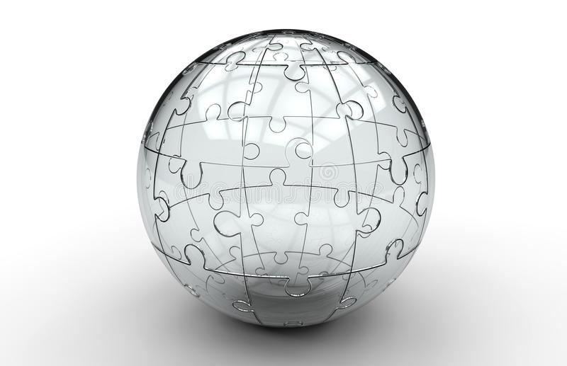 Glass jigsaw puzzle sphere royalty free illustration