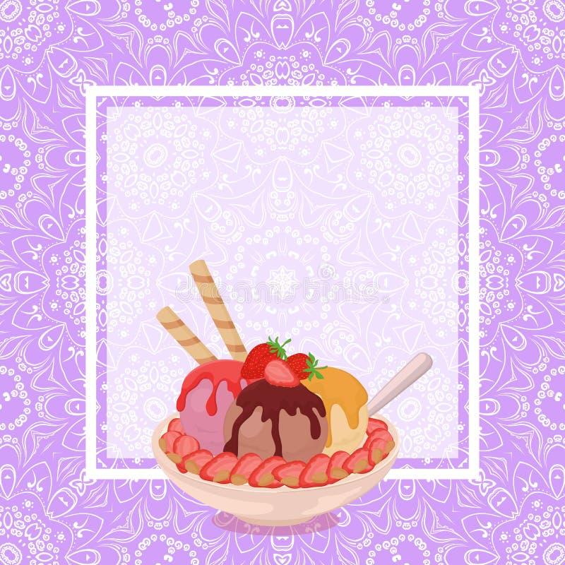 Glass, jordgubbar och bakgrund stock illustrationer