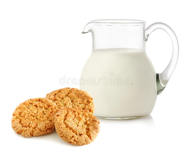 Download Glass Jug With Milk And Cookies Stock Photo - Image: 25211722