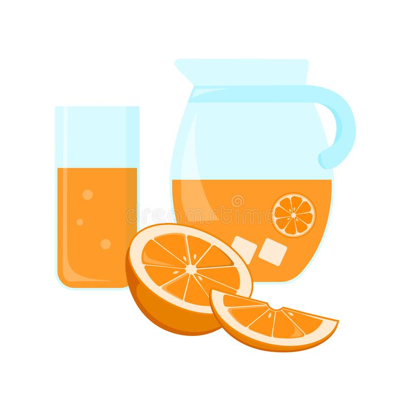 Glass and jug with orange juice, half and slice citrus fruit. Vector illustration royalty free illustration