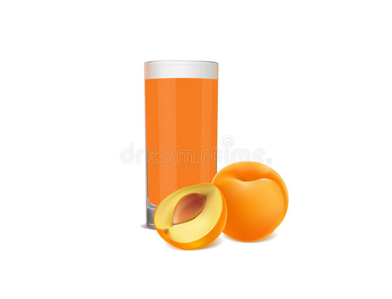 Glass of juice and fresh apricots on white background stock illustration