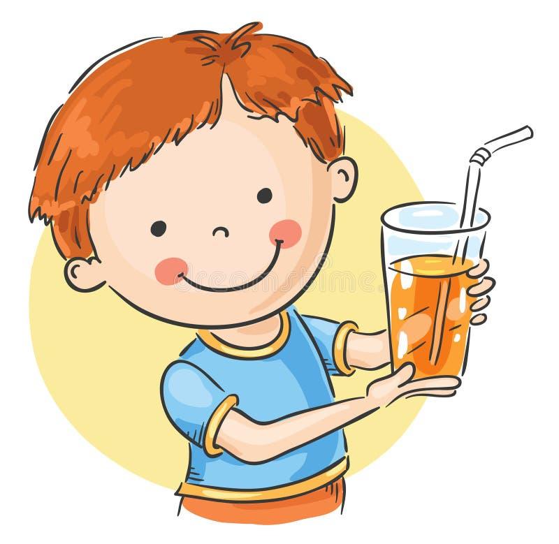 Glass of juice. Friendly boy offering a glass of juice stock illustration