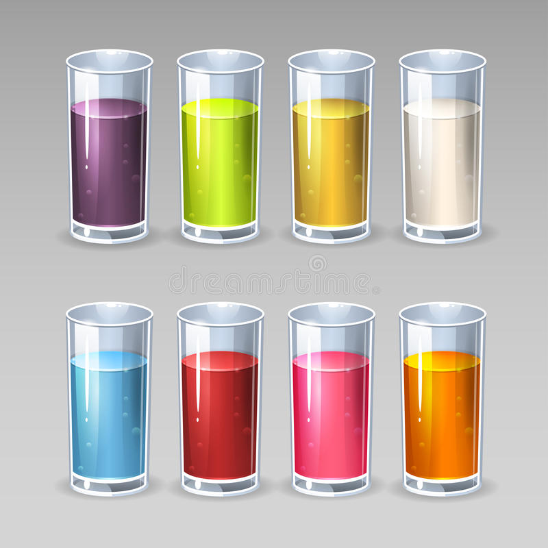Glass of juice. Illustration of glass of juice colored stock illustration