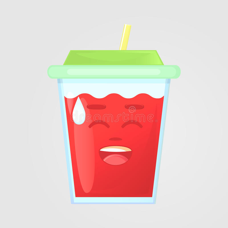 A glass of juice with a lid and a straw. Summer drink. Emotional icon, laughs, awkward laughter. stock photos