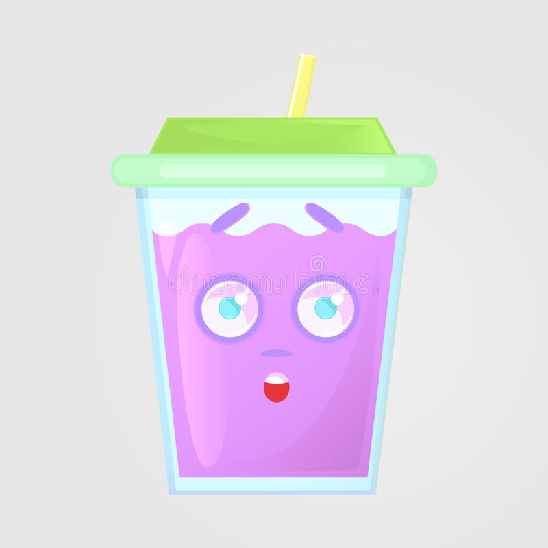 A glass of juice with a lid and a straw. Summer drink. Emotional icon, surprised, shocked, scared. royalty free illustration
