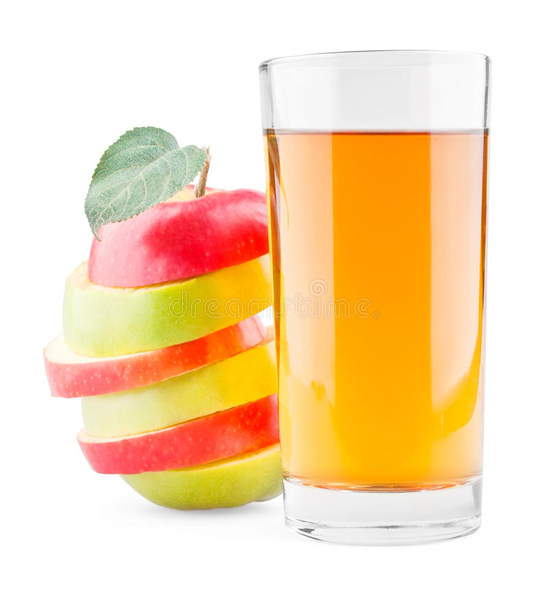 Glass of juice and mixed red green apple stock image for Green apple mixed drinks
