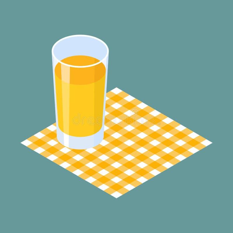 Glass of juice on napkin. Vector illustration vector illustration