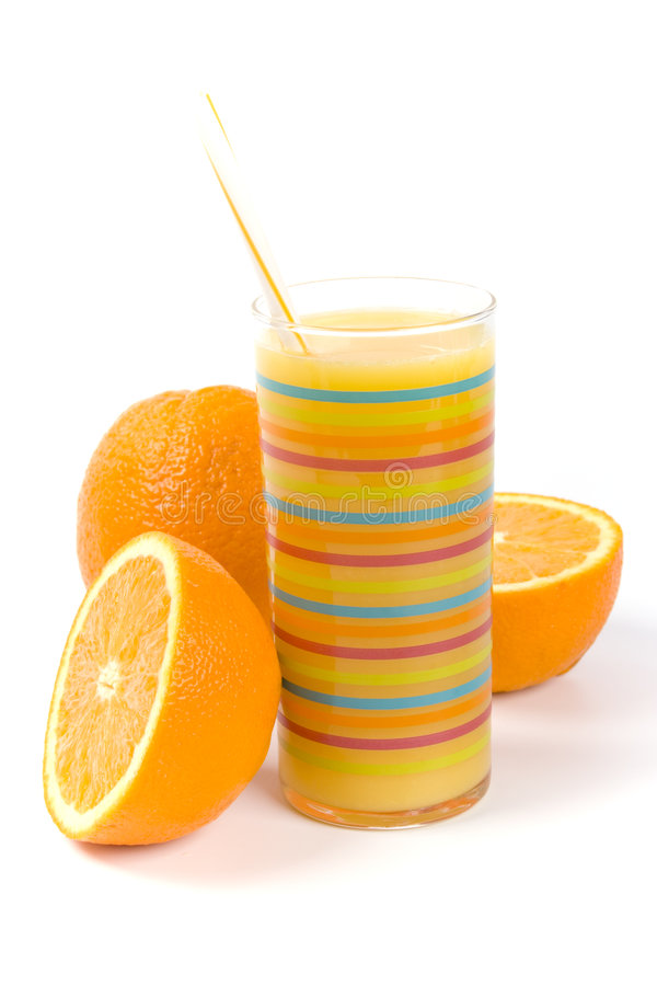 Glass Of Juice And Oranges Stock Photos