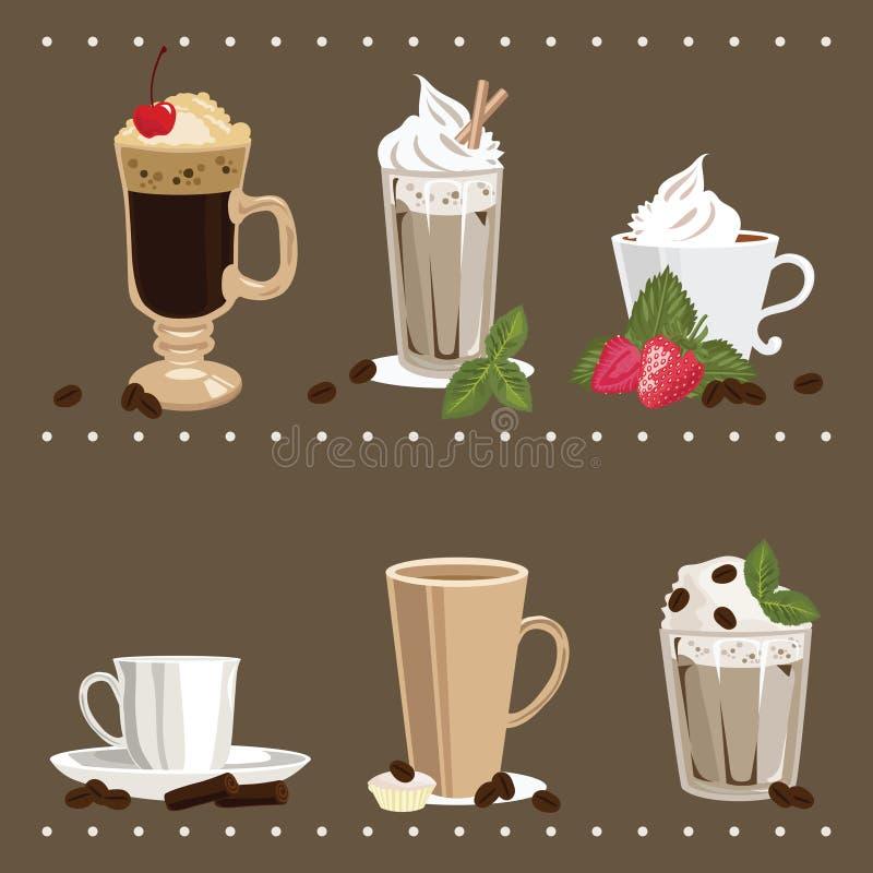 glass kaffekoppar royaltyfri illustrationer