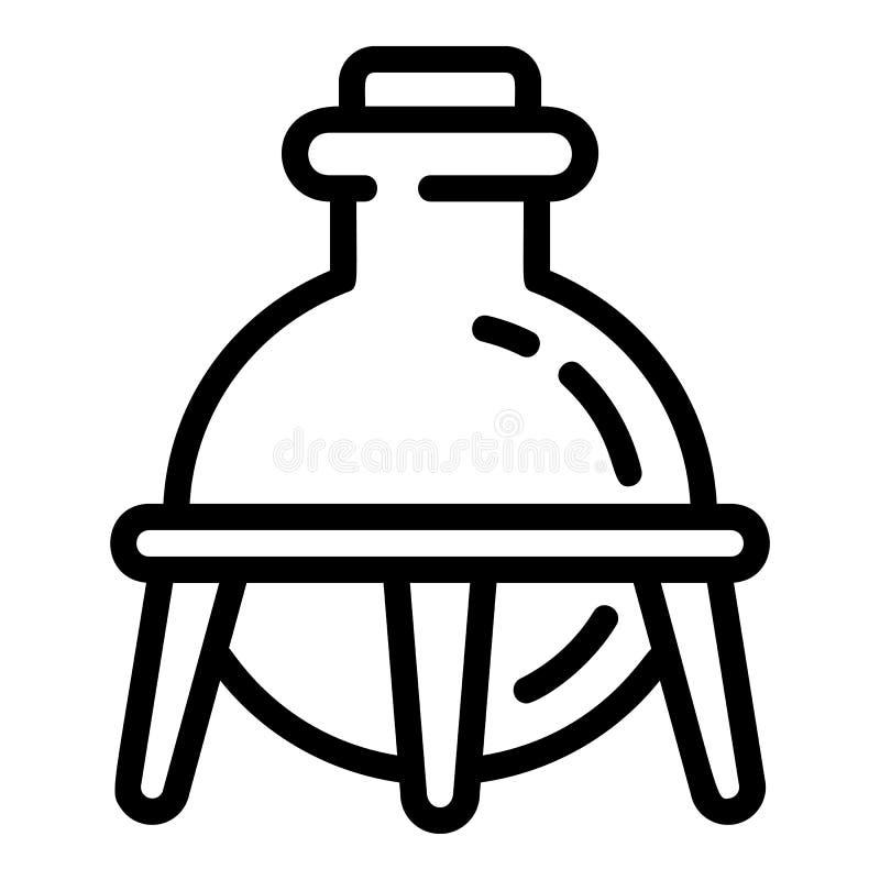 Glass kemiflaskasymbol, översiktsstil vektor illustrationer