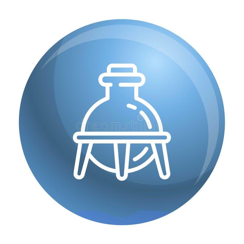 Glass kemiflaskasymbol, översiktsstil royaltyfri illustrationer