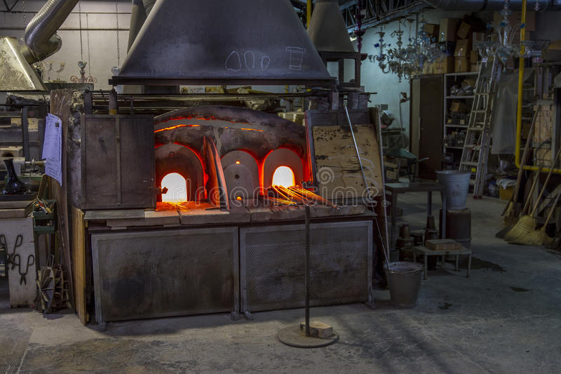 A Glass Kiln in Murano, Venice, Italy. A heated kiln for making glass on the island of Murano in Venice, italy stock image